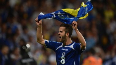 during the FIFA 2014 World Cup Qualifying Group G match between Slovakia and Bosnia-Herzegovina at the MSK Zilina stadium on September 10, 2013 in Zilina, Slovakia.