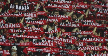 Albania supporters cheer for their team before their Euro 2016 Group I qualifying soccer match against Serbia in Elbasan, Albania October 8, 2015. REUTERS/Arben Celi