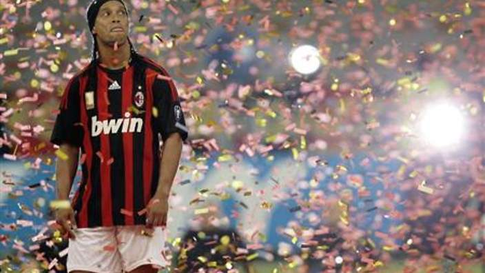 AC Milan's newly signed player Ronaldinho attends his presentation at San Siro Stadium in Milan
